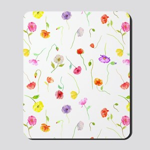 Watercolor Poppy Pattern Mousepad
